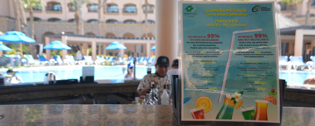 Club Solaris Cabos caring at the bars no straws